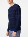 ARMANI EXCHANGE Variegated Linen Henley Crew Neck U d