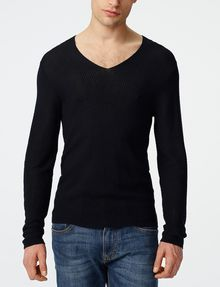 ARMANI EXCHANGE Long-Sleeve Pyramid Stitch V-Neck V-Neck U f