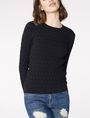 ARMANI EXCHANGE Basketweave Textured Crew Crew Neck Woman f