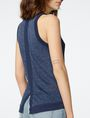 ARMANI EXCHANGE Textured Indigo Linen Tank Crew Neck D e