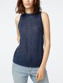 ARMANI EXCHANGE Textured Indigo Linen Tank Crew Neck D f