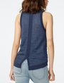 ARMANI EXCHANGE Textured Indigo Linen Tank Crew Neck D r