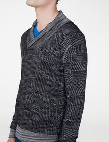 ARMANI EXCHANGE Space-Dye Shawl Collar Sweater V-Neck U e