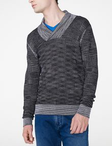 ARMANI EXCHANGE Space-Dye Shawl Collar Sweater V-Neck U f