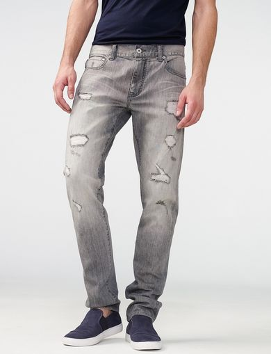 ARMANI EXCHANGE Distressed Grey Slim-Fit Jean Man front