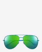 SAINT LAURENT Sunglasses E クラシック sl 11 サーフ アビエーターサングラス(シャイニーグリーン&ブルー/スティール製/グリーンミラーレンズ) f