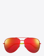 SAINT LAURENT Sunglasses E classic sl 11 surf aviator sunglasses in shiny red and yellow steel with red mirrored lenses f