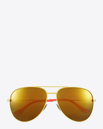 SAINT LAURENT CLASSIC E classic sl 11 surf aviator sunglasses in shiny yellow and pink steel with gold mirrored lenses f