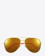 SAINT LAURENT Sunglasses E クラシック sl 11 サーフ アビエーターサングラス(シャイニーイエロー&ピンク/スティール製/ゴールドミラーレンズ) f