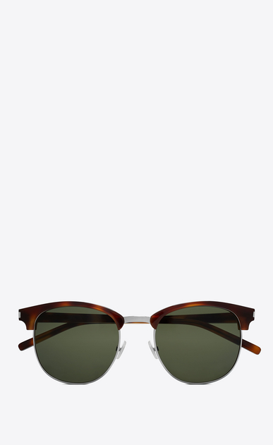 SAINT LAURENT CLASSIC E classic sl 108 sunglasses in shiny light havana acetate with green lenses a_V4