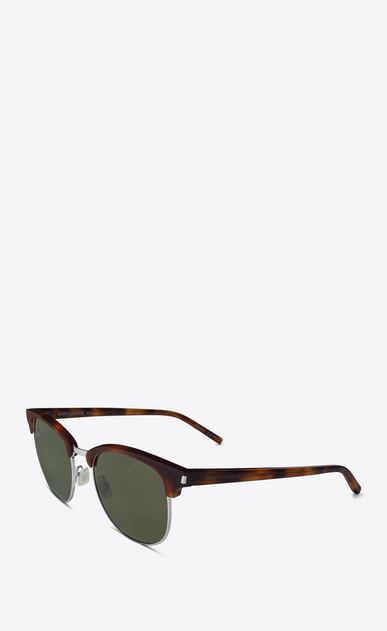 SAINT LAURENT CLASSIC E classic sl 108 sunglasses in shiny light havana acetate with green lenses b_V4