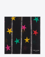 SAINT LAURENT Squared Scarves D ÉTOILES Large Square Scarf in Black and Multicolor All Stars Printed Wool Étamine f