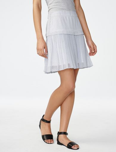 ARMANI EXCHANGE Two-Tier Pleated Miniskirt Woman front