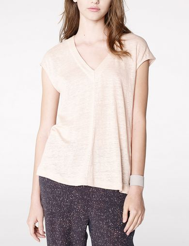 ARMANI EXCHANGE Linen Cap-Sleeve Top Woman front