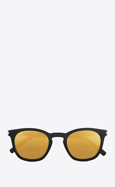 SAINT LAURENT CLASSIC E klassische 28 sonnenbrille mit glänzend schwarzem acetat-gestell und goldfarbenen verspiegelten gläsern a_V4