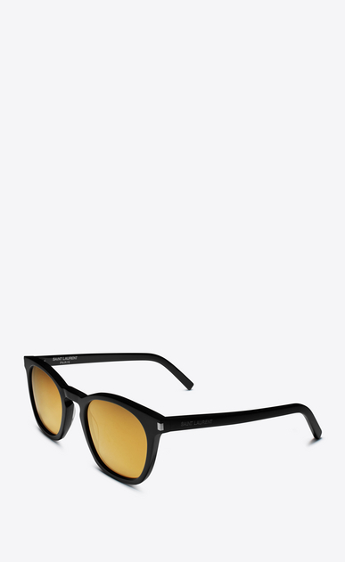 SAINT LAURENT CLASSIC E classic 28 sunglasses in shiny black acetate with gold mirrored lenses b_V4