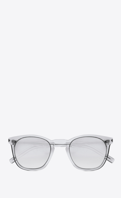 SAINT LAURENT CLASSIC E Classic 28 Sunglasses in Clear Acetate with Light Silver Mirrored Lenses a_V4