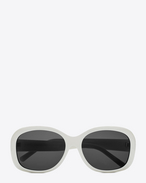 NEW WAVE 119 MEL Sunglasses in Shiny Ivory Acetate with Smoke Lenses