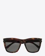 lunettes de soleil new wave SL 137 devon à monture en acétate havane foncé brillant et verres gris