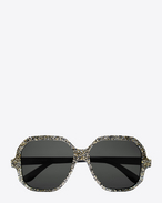 new wave 4 sunglasses in shiny silver glitter, gold and black acetate with grey lenses