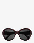 lunettes de soleil new wave SL 133 à monture en acétate noir brillant avec des cœurs rouges brillants, agrémentées de verres gris