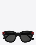 new wave lolita sunglasses in shiny black acetate and red crystal with smoke lenses