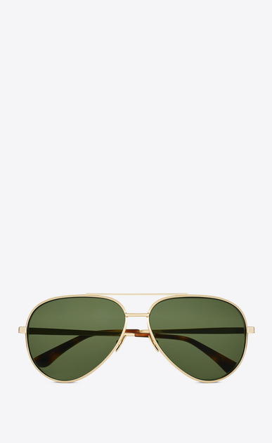 SAINT LAURENT CLASSIC E classic 11 zero sunglasses in shiny gold metal with green lenses  a_V4