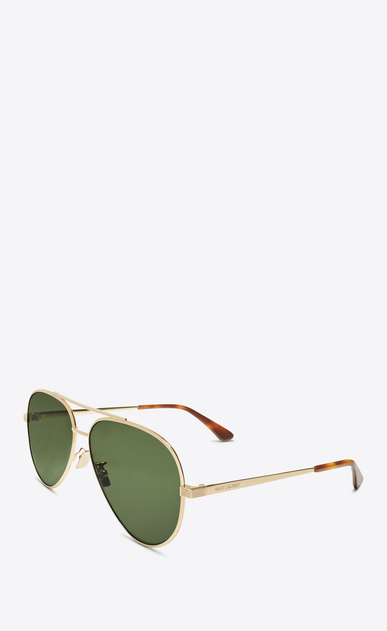 SAINT LAURENT CLASSIC E classic 11 zero sunglasses in shiny gold metal with green lenses  b_V4