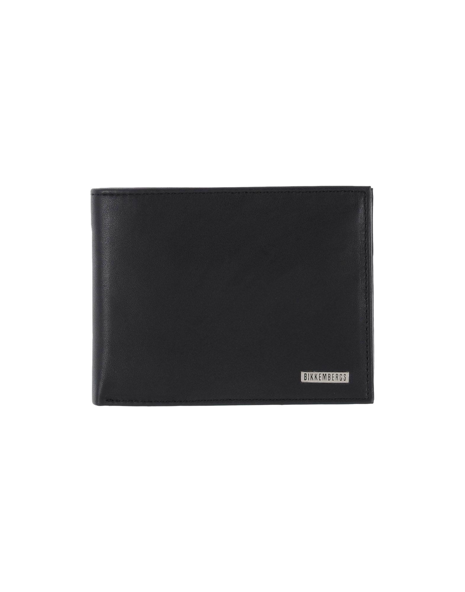《送料無料》BIKKEMBERGS メンズ 財布 ブラック 羊革(シープスキン) 100%