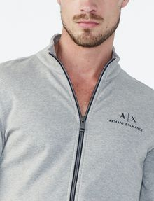 ARMANI EXCHANGE SIGNATURE LOGO MOCKNECK Fleece Jacket Man e