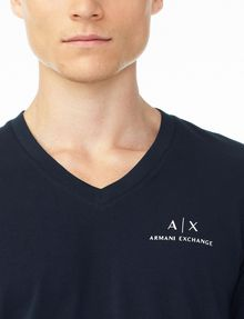 ARMANI EXCHANGE CLASSIC SIGNATURE V-NECK Short Sleeve Tee U e