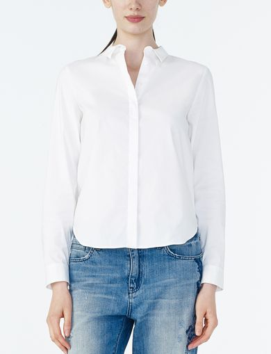 ARMANI EXCHANGE BAND COLLAR POPLIN TAILORED SHIRT Woman front