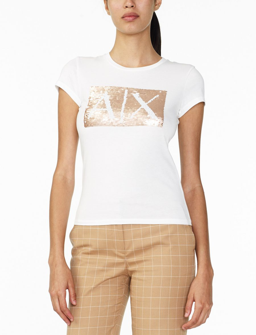Armani exchange two way sequin box logo tee logo t shirt for Sequin t shirt changing