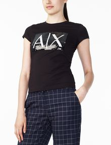 ARMANI EXCHANGE TWO-WAY SEQUIN BOX LOGO TEE Logo Tee D d