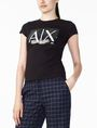 ARMANI EXCHANGE TWO-WAY SEQUIN BOX LOGO TEE Logo T-shirt Woman d