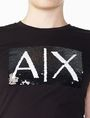 ARMANI EXCHANGE TWO-WAY SEQUIN BOX LOGO TEE Logo T-shirt Woman e