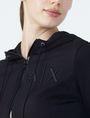 ARMANI EXCHANGE RUBBER LOGO ZIP-UP HOODIE Fleece Jacket Woman e