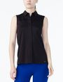 ARMANI EXCHANGE LAYERED YOKE BUTTON-DOWN SHIRT S/L Knit Top Woman f