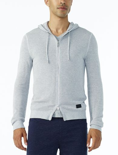 ARMANI EXCHANGE TEXTURED FULL-ZIP HOODIE Man front