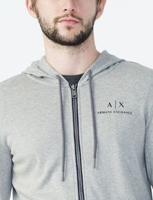 ARMANI EXCHANGE SIGNATURE LOGO HOODIE Fleece Jacket Man e