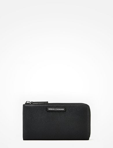 PEBBLED FAUX-LEATHER HALF-ZIP WALLET