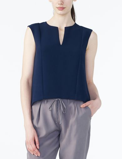 ARMANI EXCHANGE TEXTURED V-DETAIL SHELL Woman front