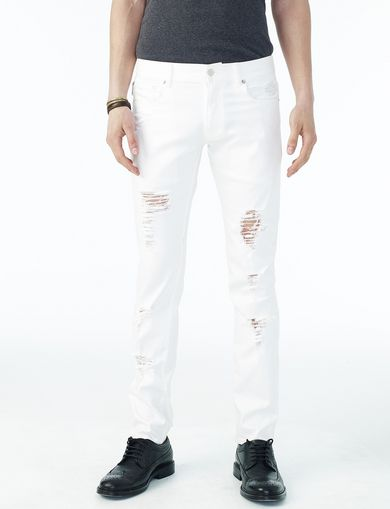 ARMANI EXCHANGE SHREDDED WHITE SLIM FIT JEAN Man front