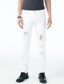 ARMANI EXCHANGE SHREDDED WHITE SLIM FIT JEAN Slim Fit Denim U f