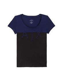 ARMANI EXCHANGE BICOLOR EMBROIDERED A|X TEE Logo Tee D b
