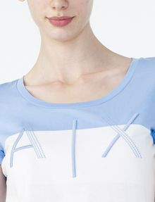 ARMANI EXCHANGE BICOLOR EMBROIDERED A|X TEE Logo T-shirt Woman e