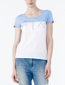 ARMANI EXCHANGE BICOLOR EMBROIDERED A|X TEE Logo T-shirt Woman f