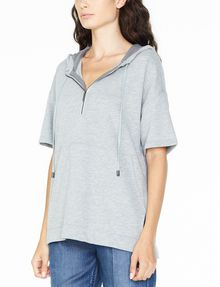 ARMANI EXCHANGE SHORT-SLEEVE TERRY HOODIE Fleece Top D d