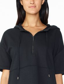 ARMANI EXCHANGE SHORT-SLEEVE TERRY HOODIE Fleece Top Woman e