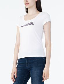 ARMANI EXCHANGE FLOCKED CRESCENDO TEE Logo T-shirt Woman d